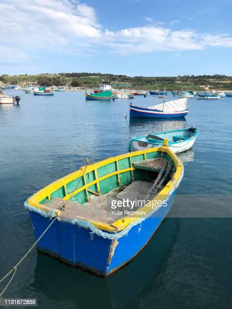 harbour in marsaxlokk - marsaxlokk stock pictures, royalty-free photos & images