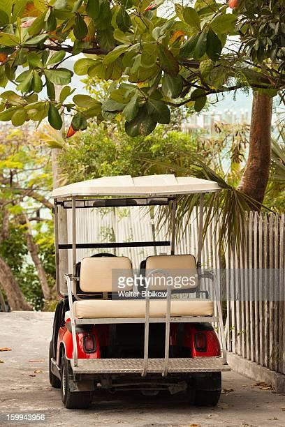harbour island, bahamas, golf cart - ダンモアタウン ストックフォトと画像