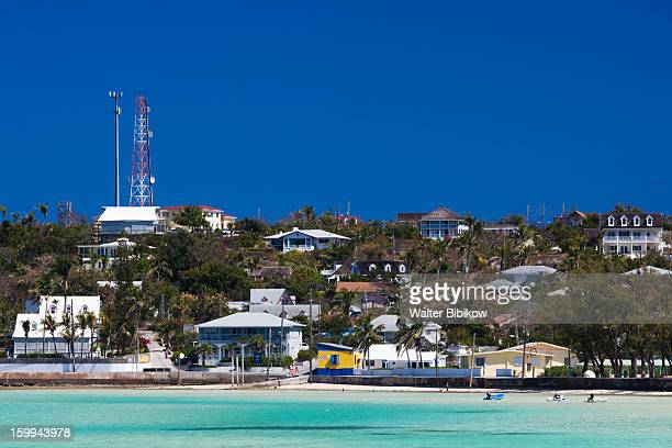 harbour island, bahamas, town view - harbor island bahamas stock photos and pictures