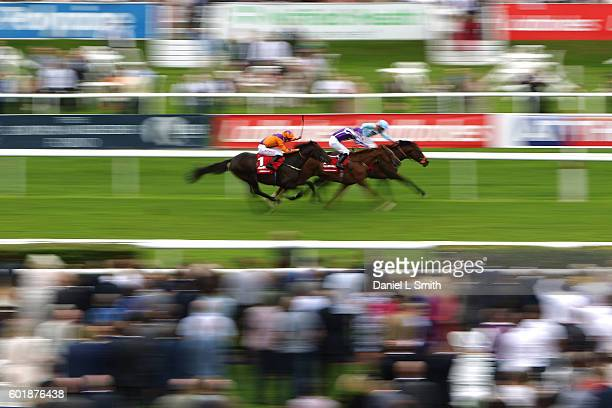 Harbour Law ridden by George Baker comes from behind to win The Ladbrokes St Leger Stakes at Doncaster Racecourse on September 10, 2016 in Doncaster,...