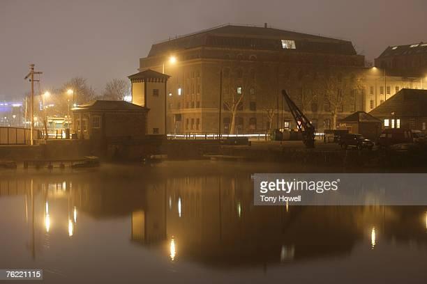 Harbour, Night, Fog, Bristol, England, UK