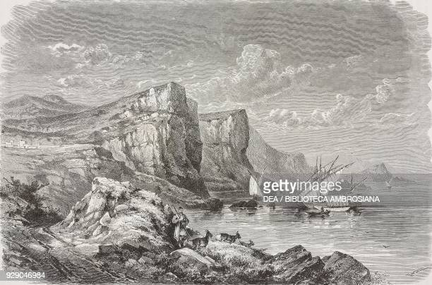 Harbour of Panormos, Skopelos Island, Greece, drawing by Theodor Alexander Weber from a sketch by Belle, Voyage in Greece, 1861-1868-1874, by Henri...