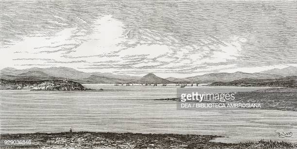 Harbour of Salamis, Greece, drawing by Edouard Riou from a sketch by Belle, Voyage in Greece, 1861-1868-1874, by Henri Belle, from Il Giro del mondo...