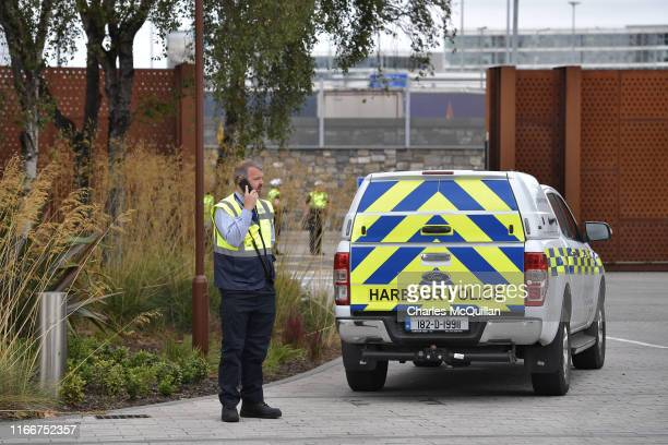 Harbour Policeman can be seen as An Taoiseach Leo Varadkar inspects the newly installed border port infrastructure checkpoints at Dublin port on...