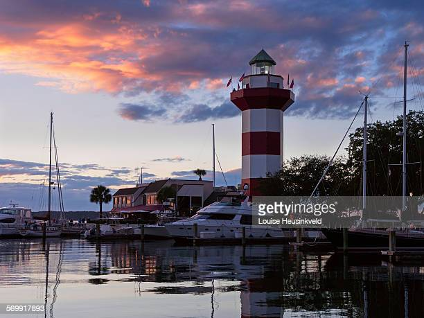 harbour town at sunset - hilton head stock pictures, royalty-free photos & images