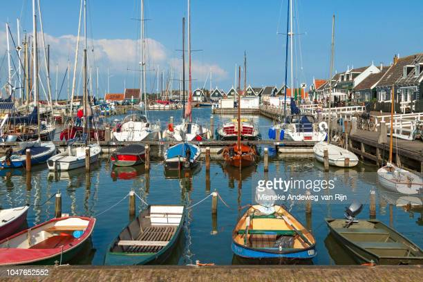 Harbour view of Marken, famous for its typical fishermen's houses, North Holland, The Netherlands