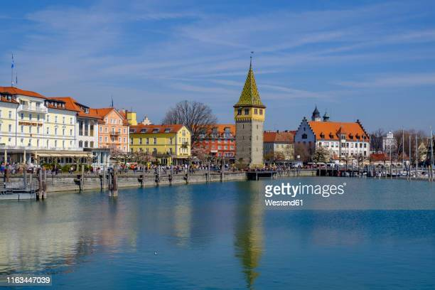 harbour with mangturm, lake constance, lindau, bavaria, germany - bodensee stock pictures, royalty-free photos & images