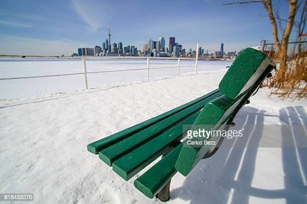harbourfront winter - lake ontario stock pictures, royalty-free photos & images