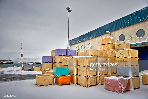 harbourside warehouse and containers. - merten snijders stockfoto's en -beelden