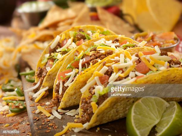 hard beef tacos - ground beef stock pictures, royalty-free photos & images