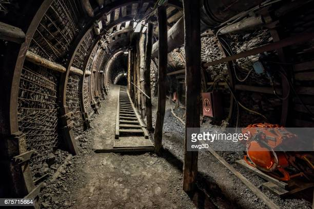 Hard coal mine underground corridor with steel support system and electrical equipment