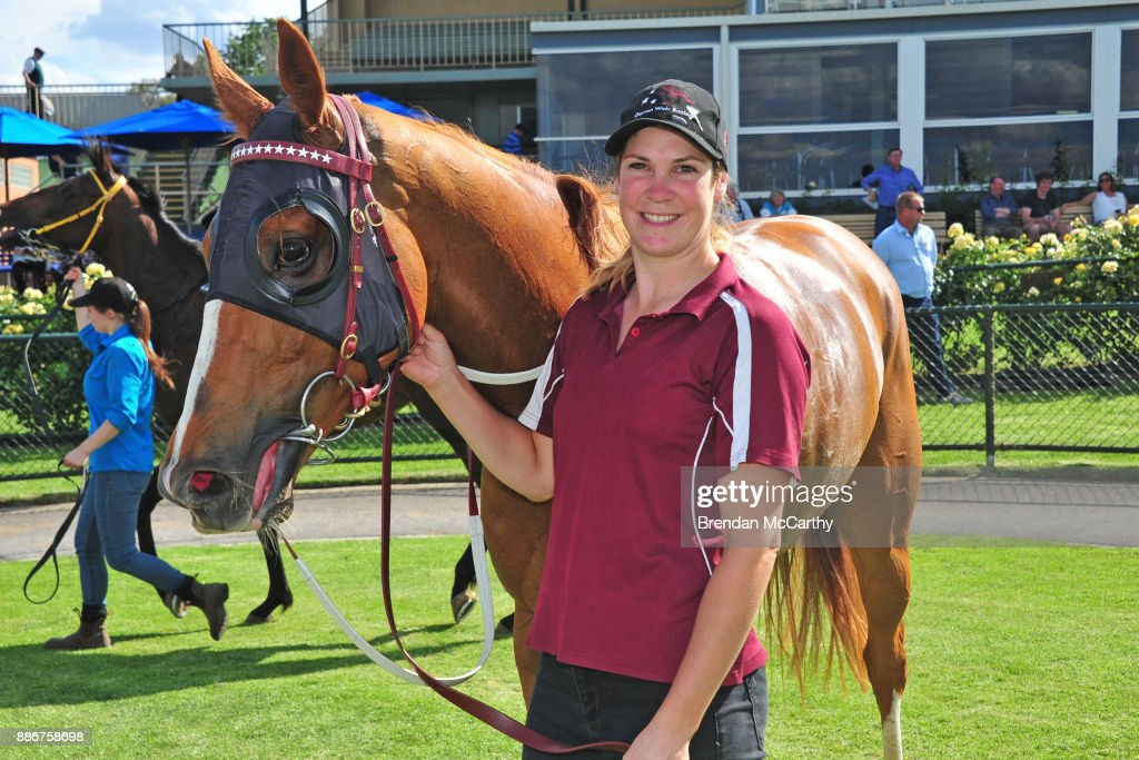 Hard Empire and strapper Emma Church after winning the Adroit Insurance BM70 Handicap at Bendigo Racecourse on December 06, 2017 in Bendigo, Australia.
