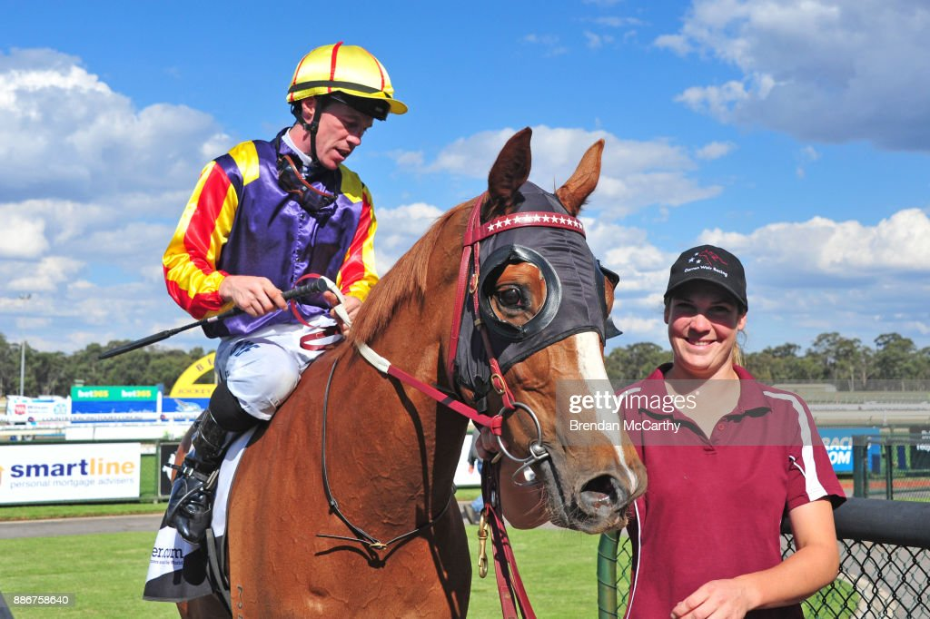Hard Empire ridden by John Allen returns to the mounting yard after winning the Adroit Insurance BM70 Handicap at Bendigo Racecourse on December 06, 2017 in Bendigo, Australia.