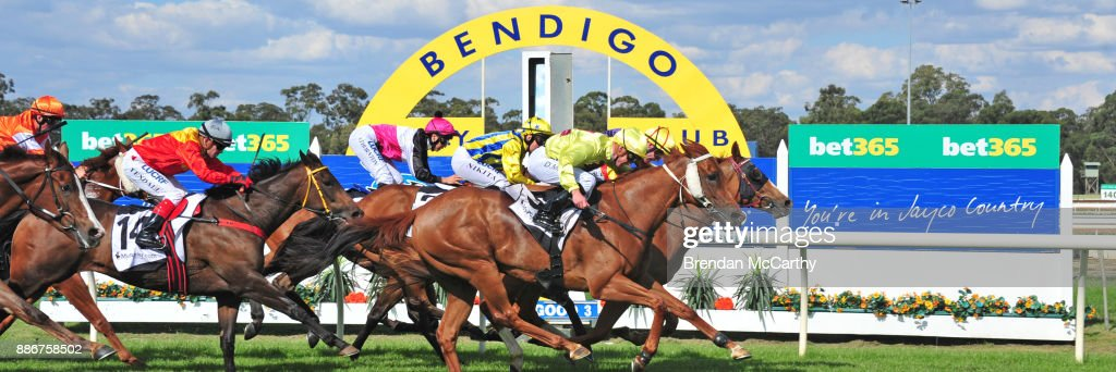 Hard Empire ridden by John Allen wins the Adroit Insurance BM70 Handicap at Bendigo Racecourse on December 06, 2017 in Bendigo, Australia.