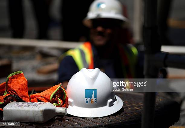 A hard hat sits on the ground at a Pacific Gas and Electric work site on July 30 2014 in San Francisco California A federal grand jury has added 27...