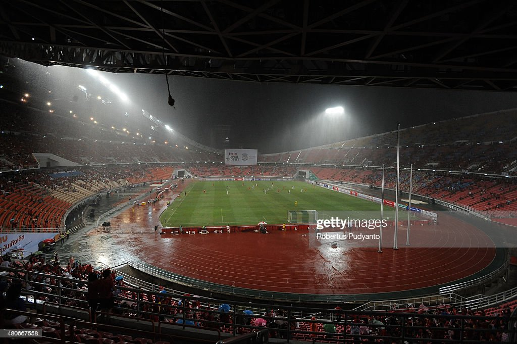 Hard rain during the international friendly match between Thai Premier League All Stars and Liverpool FC at Rajamangala Stadium on July 14, 2015 in Bangkok, Thailand.