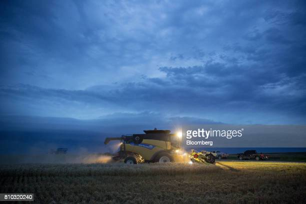 Hard red winter wheat is harvested with a CNH Industrial New Holland combine harvester in Zurich Kansas US on Thursday June 29 2017 Spring wheat...