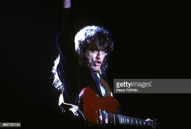 Hard rock band ACDC guitar leader Angus Young during concert at Palais Omnisports of Paris Bercy on September 15 1984 in Paris France
