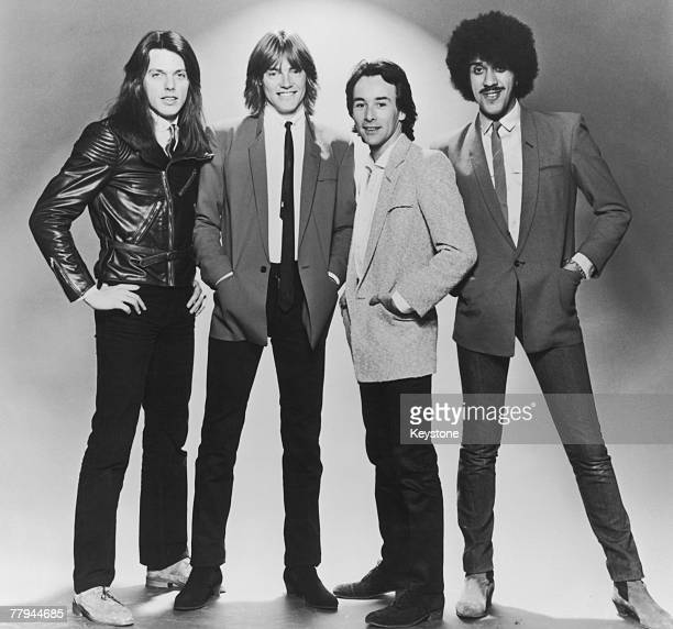 Hard rock band Thin Lizzy circa 1980 Left to right guitarists Scott Gorham and Snowy White drummer Brian Downey and singer/bassist Phil Lynott