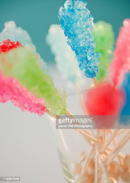 Hard rock candies in glass