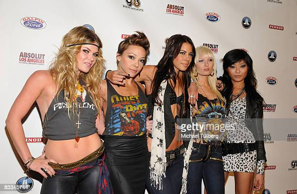Hard rock girl dance troupe the Darling Stilettos arrive at the benefit grand opening of celebrity vehicle customization shop Galpin Auto Sports on...