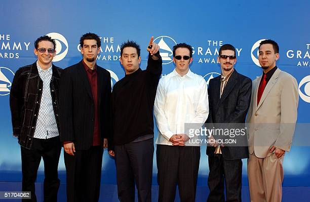 Hard rock Grammy nominees Linkin Park arrive at the 44th Annual Grammy Awards in Los Angeles CA 27 February 2002 AFP PHOTO/LUCY NICHOLSON