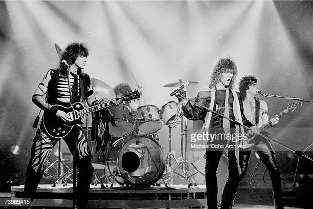 Hard rock group 'Bon Jovi' performs onstage on April 4 1984 in Los Angeles California Richie Sambora Tico Torres Jon Bon Jovi Alec John Such