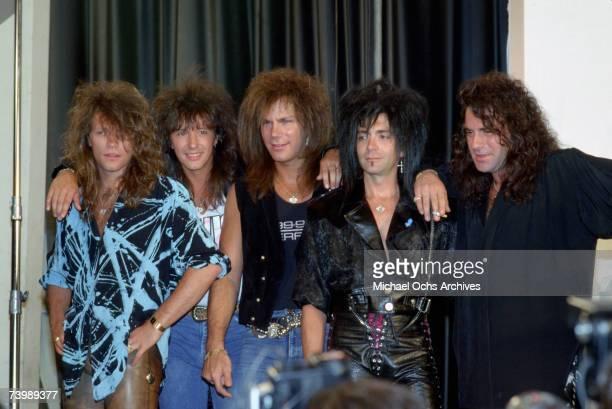 Hard rock group 'Bon Jovi' pose for a portrait at a press conference in circa 1986 Jon Bon Jovi Richie Sambora Dave Bryan Alec John Such Tico Torres