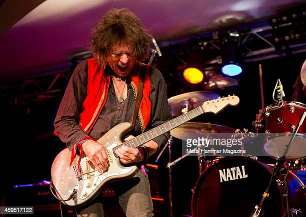 Hard rock guitarist Bernie Torme performing live on stage at the 2013 Hard Rock Hell festival in Pwllheli Wales on November 28 2013
