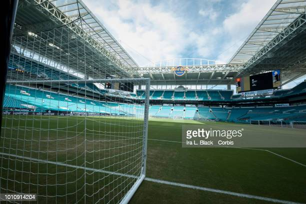 Hard Rock Stadium logo displayed with the soccer goal before the International Champions Cup soccer match between Manchester United FC and Real...