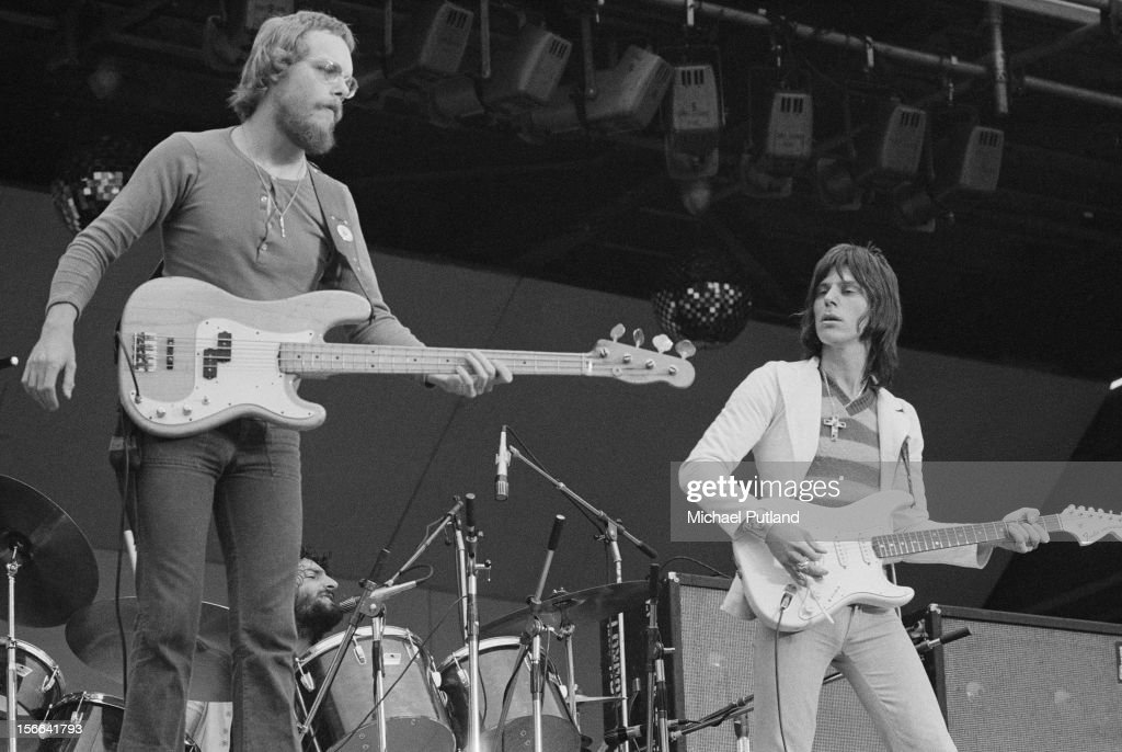 Hard rock supergroup Beck, Bogert And Appice performing at the 'Rock At The Oval' festival, London, 16th September 1972. Left to right: Tim Bogert, Carmine Appice and Jeff Beck.