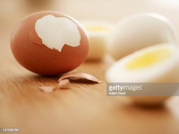 hard-boiled brown eggs - boiled stock pictures, royalty-free photos & images