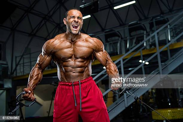 hardcore body building workout - bodybuilding stockfoto's en -beelden