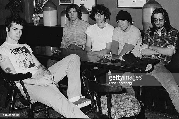 Hardcore punk band Black Flag group portrait at the Oporto pub Holborn London United Kingdom 1983 LR Henry Rollins Greg Ginn Bill Stevenson Chuck...