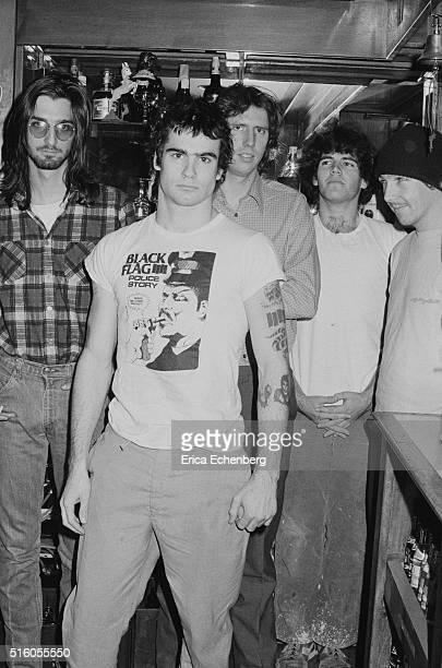 Hardcore punk band Black Flag group portrait at the Oporto pub Holborn London United Kingdom 1983 LR Dez Cadena Henry Rollins Greg Ginn Bill...