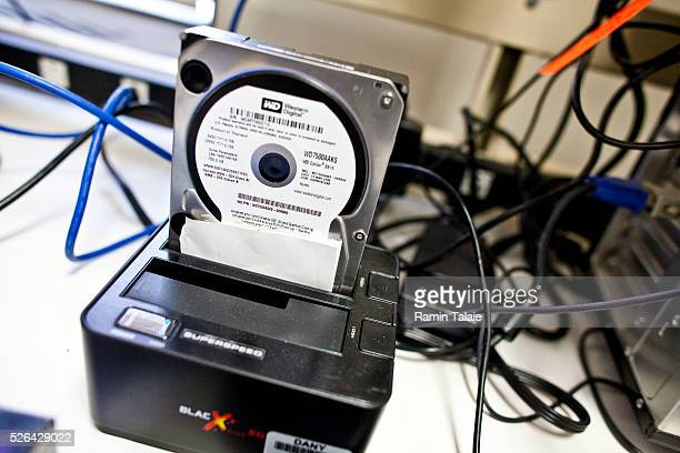 A harddrive used as evidence is downloaded for inspection in Manhattan District Attorney cyber crime lab in Lower Manhattan in New York City on...