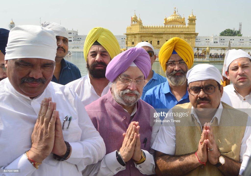 Hardeep Singh Puri Minister of State in the Ministry of Housing and Urban Affairs with Vijay Sampla Minister of State for Social Justice and...
