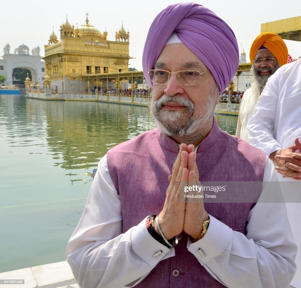 Hardeep Singh Puri Minister of State in the Ministry of Housing and Urban Affairs pays obeisance at Golden Temple on September 14 2017 in Amritsar...