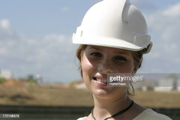 hard-hatted woman working