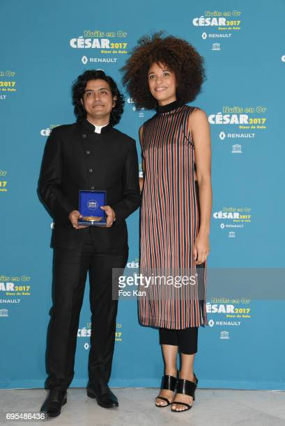 Hardik Mehta and Stefi Celma attend 'Les Nuits en Or 2017' Dinner Gala - Photocall at UNESCO on June 12, 2017 in Paris, France.