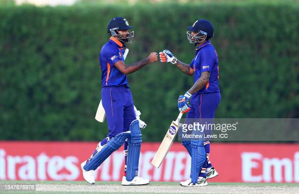 Hardik Pandya and Suryakumar Yadav of India celebrate following the India and Australia warm Up Match prior to the ICC Men's T20 World Cup at on...