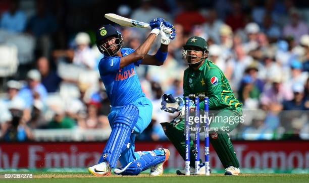Hardik Pandya of India bats during the ICC Champions Trophy Final match between India and Pakistan at The Kia Oval on June 18 2017 in London England