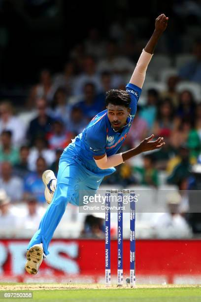 Hardik Pandya of India bowls during the ICC Champions Trophy Final match between India and Pakistan at The Kia Oval on June 18 2017 in London England