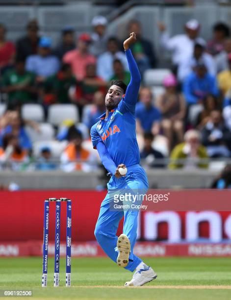 Hardik Pandya of India bowls during the ICC Champions Trophy Semi Final between Bangladesh and India at Edgbaston on June 15 2017 in Birmingham...