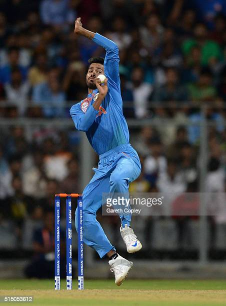 Hardik Pandya of India bowls during the ICC Twenty20 World Cup warm up match between India and South Africa at Wankhede Stadium on March 12 2016 in...