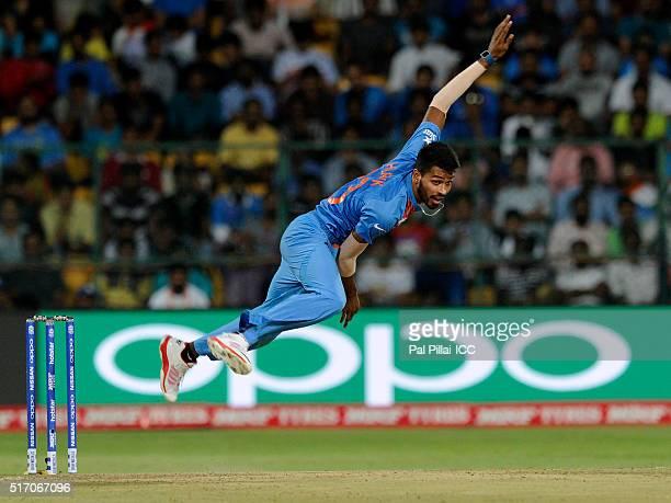 Hardik Pandya of India bowls during the ICC World Twenty20 India 2016 match between India and Bangladesh at the Chinnaswamy stadium on March 23 2016...