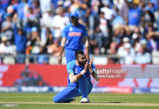 Hardik Pandya of India celebrates after dismissing Sunil Ambris of West Indies during the Group Stage match of the ICC Cricket World Cup 2019 between...