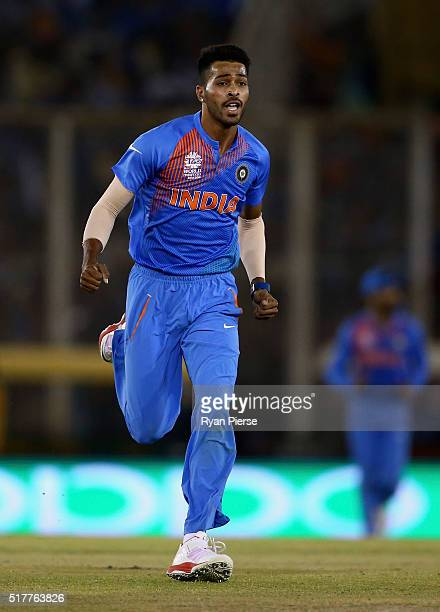 Hardik Pandya of India celebrates after taking the wicket of Aaron Finch of Australia during the ICC WT20 India Group 2 match between India and...
