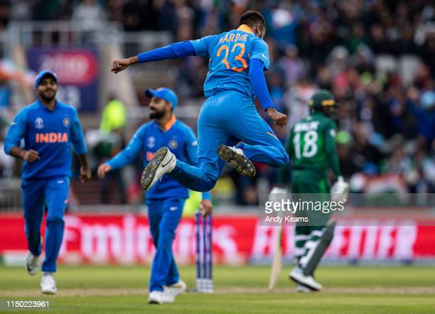 Hardik Pandya of India celebrates after taking the wicket of Shoaib Malik of Pakistan during the Group Stage match of the ICC Cricket World Cup 2019...