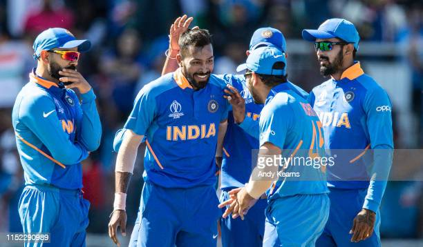 Hardik Pandya of India celebrates after taking the wicket of Sunil Ambris of West Indies during the Group Stage match of the ICC Cricket World Cup...